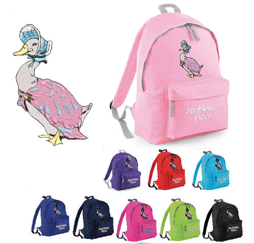 JEMIMA PUDDLE DUCK RUCKSACK/BACK PACK WITH ANY NAME